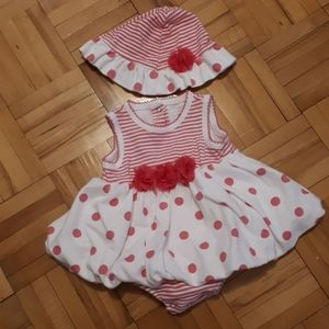 Little Me Bodysuit with Hat 3m Pink Polka Dots